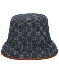 Gucci Gg ジャカードキャンバスバケットハット - ブルー