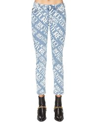 Versace Jeans Couture Jeans Aus Baumwolldenim Mit Druck - Blau