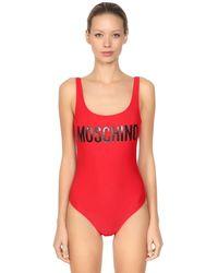 Moschino ロゴプリント ライクラ ワンピース水着 - レッド