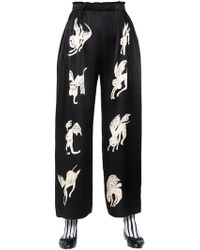 Claire Barrow - Wide Leg Printed Satin Trousers - Lyst