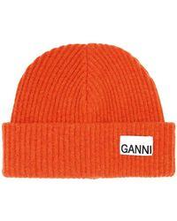 Ganni Шерстяная Шапка - Оранжевый