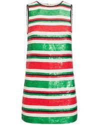 Saint Laurent Короткое Платье Из Жоржета - Зеленый
