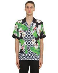 Dolce & Gabbana Bowlinghemd Aus Viskose Mit Druck - Grün