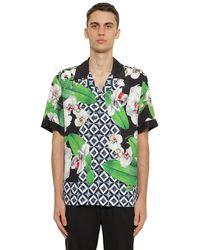 Dolce & Gabbana Camicia Bowling In Viscosa - Verde