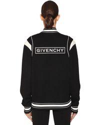 Givenchy Logo Wool Knit Bomber Jacket - Black