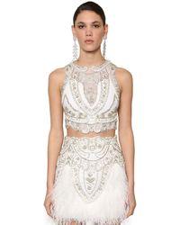 RAISA & VANESSA Embellished Lace & Velvet Crop Top - White