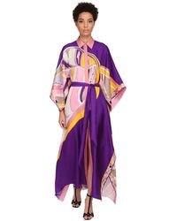 Emilio Pucci シルクツイルシャツドレス - パープル