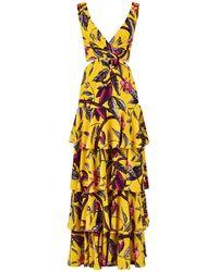 Johanna Ortiz - Kleid Aus Georgette Mit Blumendruck - Lyst