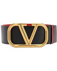 Valentino Garavani Go Logo リバーシブルレザーベルト 70mm - ブラック