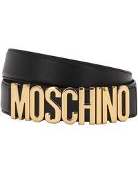 Moschino ロゴレザーベルト 3.5cm - ブラック