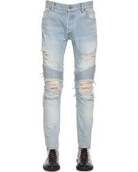 Balmain 15cm Destroyed Slim Cotton Denim Jeans - Blue