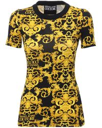 Versace Jeans Couture Bedrucktes T-shirt Aus Stretch-baumwolljersey - Gelb