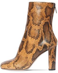 Paris Texas 95mm Snake Print Leather Ankle Boots - Brown