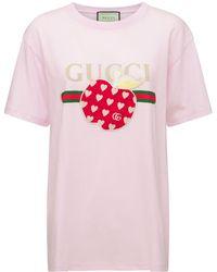 Gucci Les Pommes コットンジャージーtシャツ - ピンク