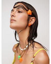 Versace Haarspange Mit Lackierter Medusa - Orange