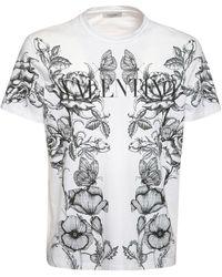 """Valentino T-shirt Aus Baumwolljersey """"dark Blooming"""" - Weiß"""