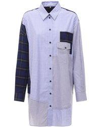 McQ Genesis Ii Patchwork コットンシャツドレス - ブルー