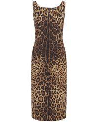 Dolce & Gabbana Платье Из Шелка С Принтом - Коричневый