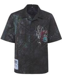 McQ Eden High タイダイコットンボウリングシャツ - ブラック