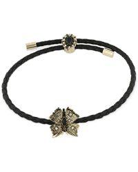 Alexander McQueen Butterfly Friendship Leather Bracelet - Black