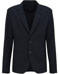 Armani Exchange ストレッチナイロンナイロンブレンドジャケット - ブルー