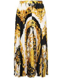 Versace Pleated Twill Midi Skirt - Multicolour