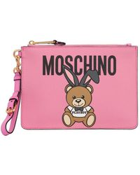 Moschino - Teddy Playboy Faux Leather Pouch - Lyst