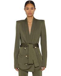 Balmain ダブルブレステッドオーバーサイズジャケット - グリーン