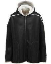 Rick Owens Curly Lamb Shearling Zip Jacket - ブラック