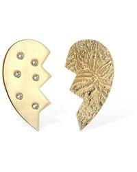Magda Butrym Heart Leaved Mismatched Earrings - Mettallic