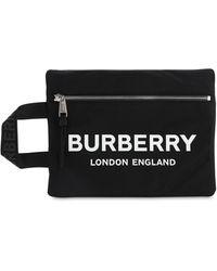 Burberry Pouch De Techno Con Logo Estampado - Negro