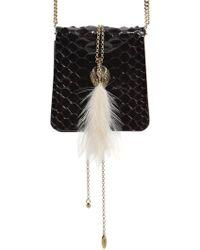 Lanvin - Small Secret Python Bag W/ Feather - Lyst