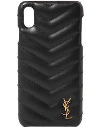 Saint Laurent Iphone Xs キルトレザー 携帯ケース - ブラック