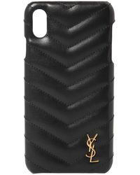 Saint Laurent Quilted Leather Iphone Xs Max Cover - Black
