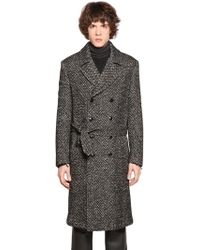 Etro - Double Breasted Mohair Blend Tweed Coat - Lyst