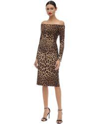 Dolce & Gabbana Леопардовое Платье Облегающего Кроя - Коричневый