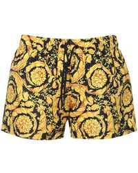 Versace Shorts Aus Technostoff Mit Druck - Gelb