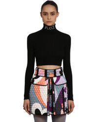 Emilio Pucci - Cropped Wool Rib Knit Turtleneck Sweater - Lyst