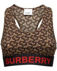 Burberry Logo Monogram Print Lycra Sport Bra - Brown