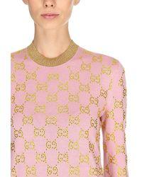 "Gucci Pullover Aus Wolljacquard ""gg"" - Pink"