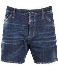 "DSquared² 26.5cm Shorts Aus Baumwolldenim ""dan Commando"" - Blau"