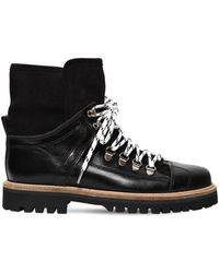 Ganni - 20mm Edna Leather & Shearling Boots - Lyst