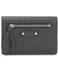 Balenciaga Classic Leather Card Case - Gray
