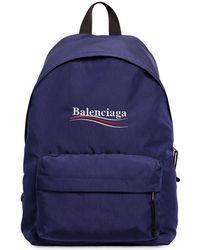 Balenciaga Nylonrucksack Mit Political-logo - Blau