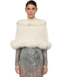 Elie Saab Hooded Wool & Cashmere Cape W/ Fur - White