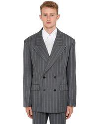 Versace ウール ピンストライプジャケット - グレー