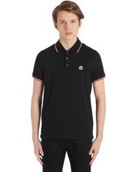 Moncler - Logo Stripes Cotton Piqué Polo Shirt - Lyst