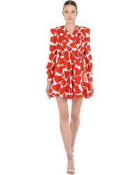 MSGM Короткое Платье С Принтом - Красный