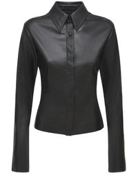 Nanushka Shado エコレザーシャツ - ブラック