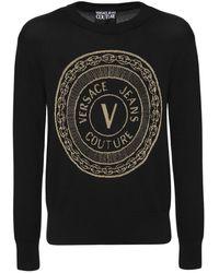 Versace Jeans Couture インターシャるれっくすロゴコットンセーター - ブラック